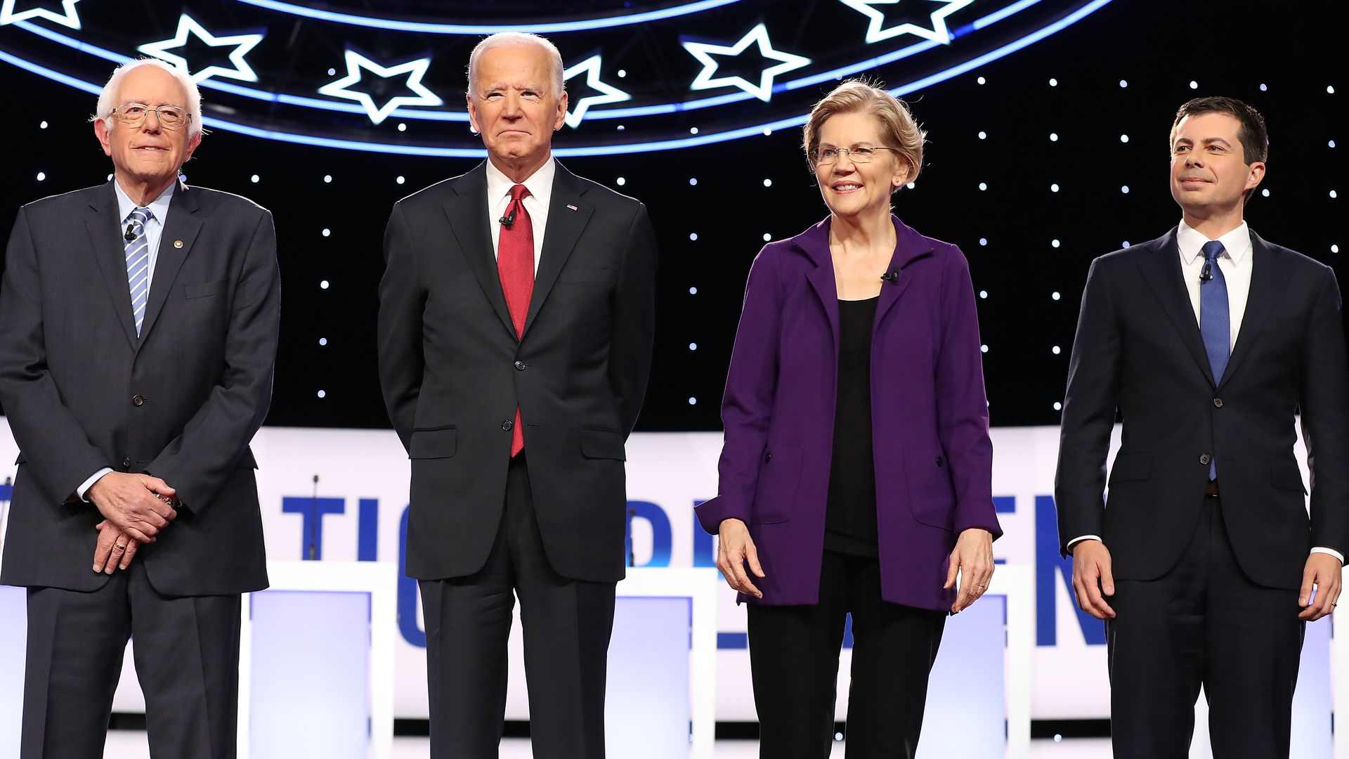 Sen. Bernie Sanders (I-VT), Joe Biden, Sen. Elizabeth Warren (D-MA), and South Bend Mayor Pete Buttigieg are introduced before the Democratic Presidential Debate at Otterbein University on October 15
