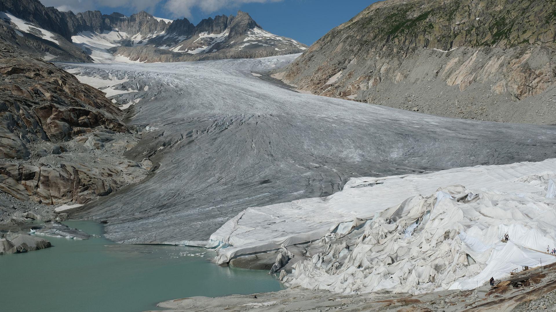 The Rhone glacier melting