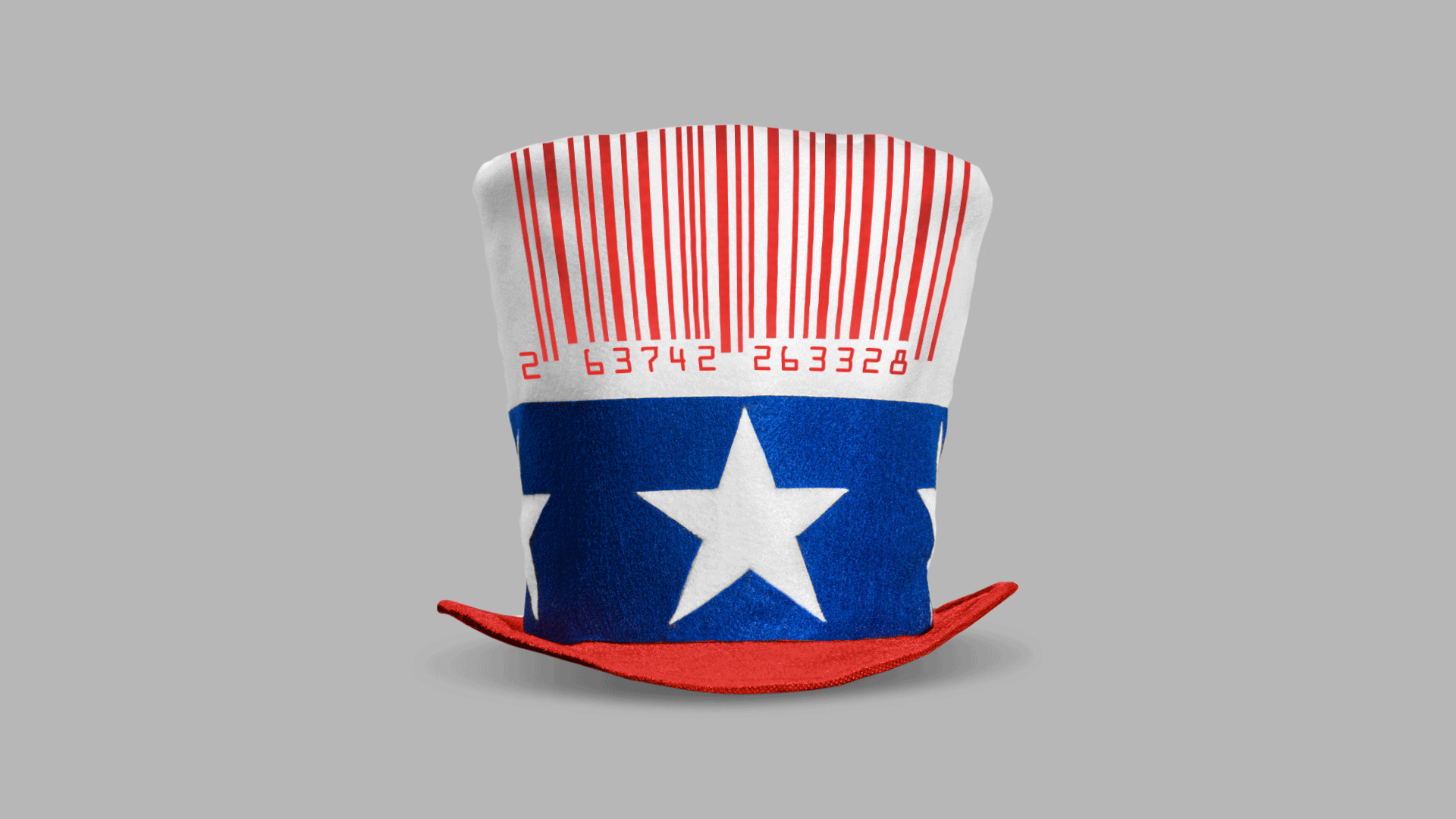 This illustration shows a hat decorated with the US red white and blue, except the red stripes are a bar code.