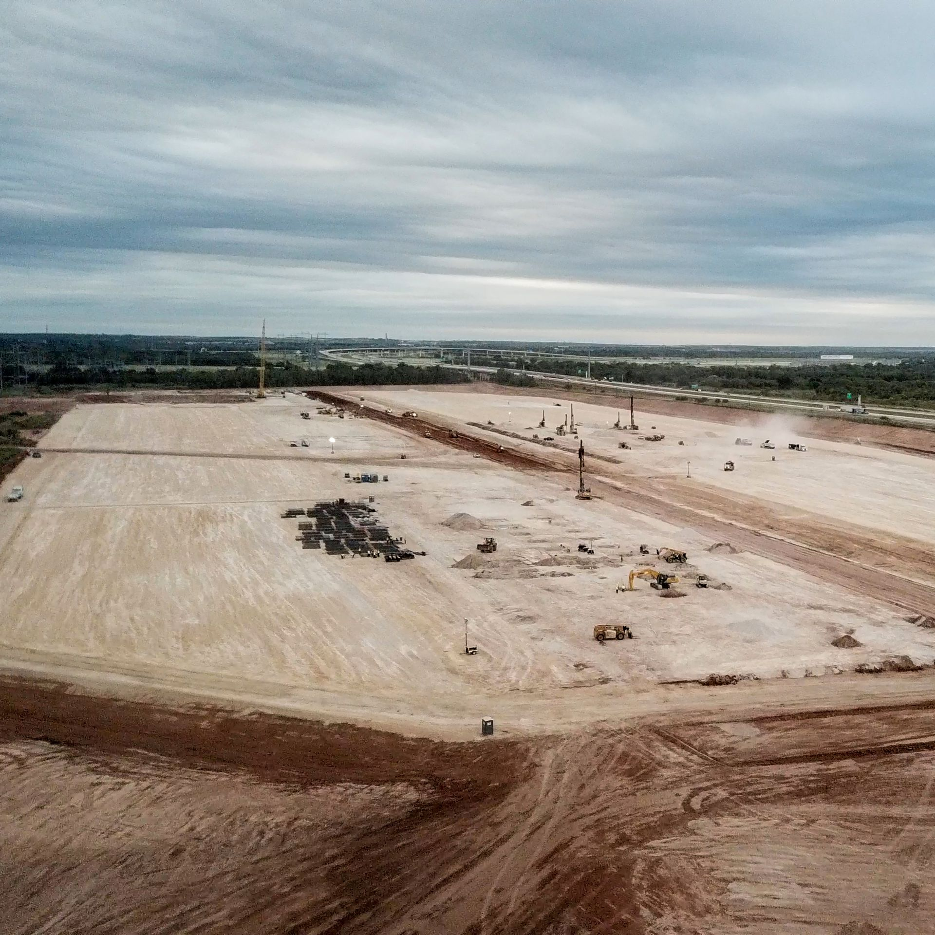 A photo of construction at the site of Tesla's proposed gigafactory in Austin.