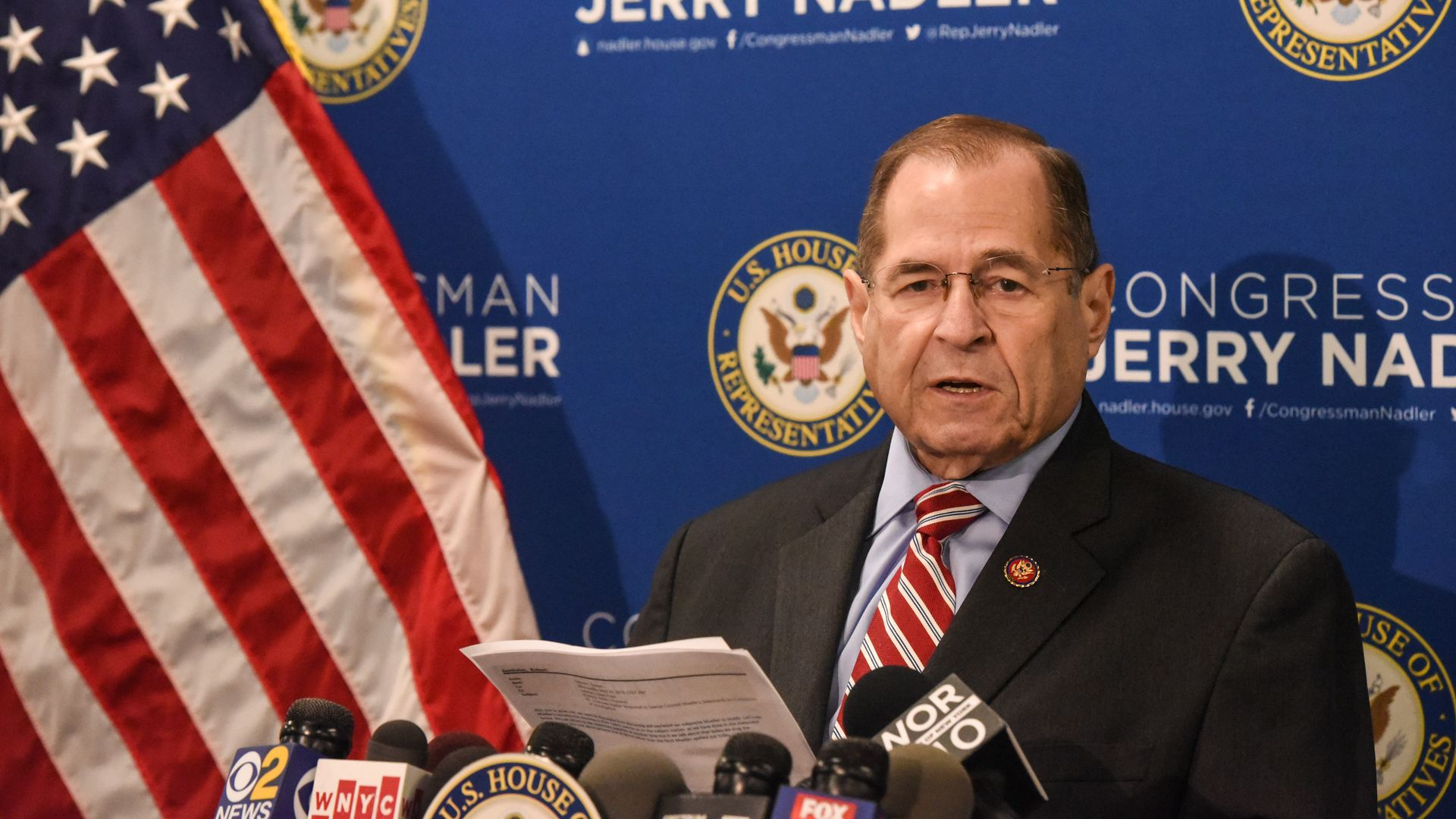 Committee Chairman of U.S. House Judiciary Committee Rep. Jerry Nadler (D-NY) speaks to members of the press on May 29.