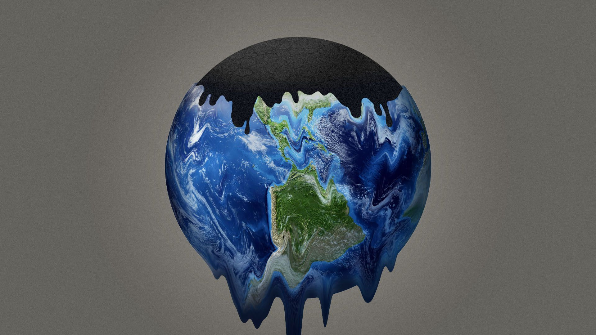 In this illustration, the earth is melting