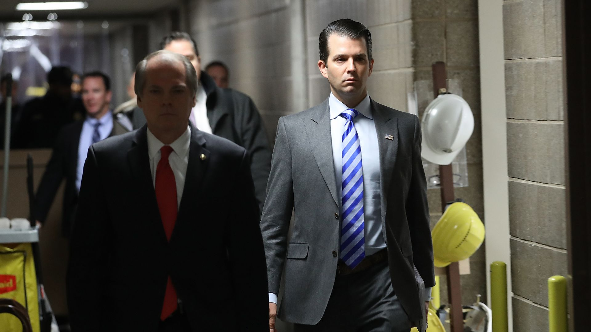 Donald Trump Jr. arrives at the Senate Hart Office Building for a closed door meeting with Senate Intelligence Committee