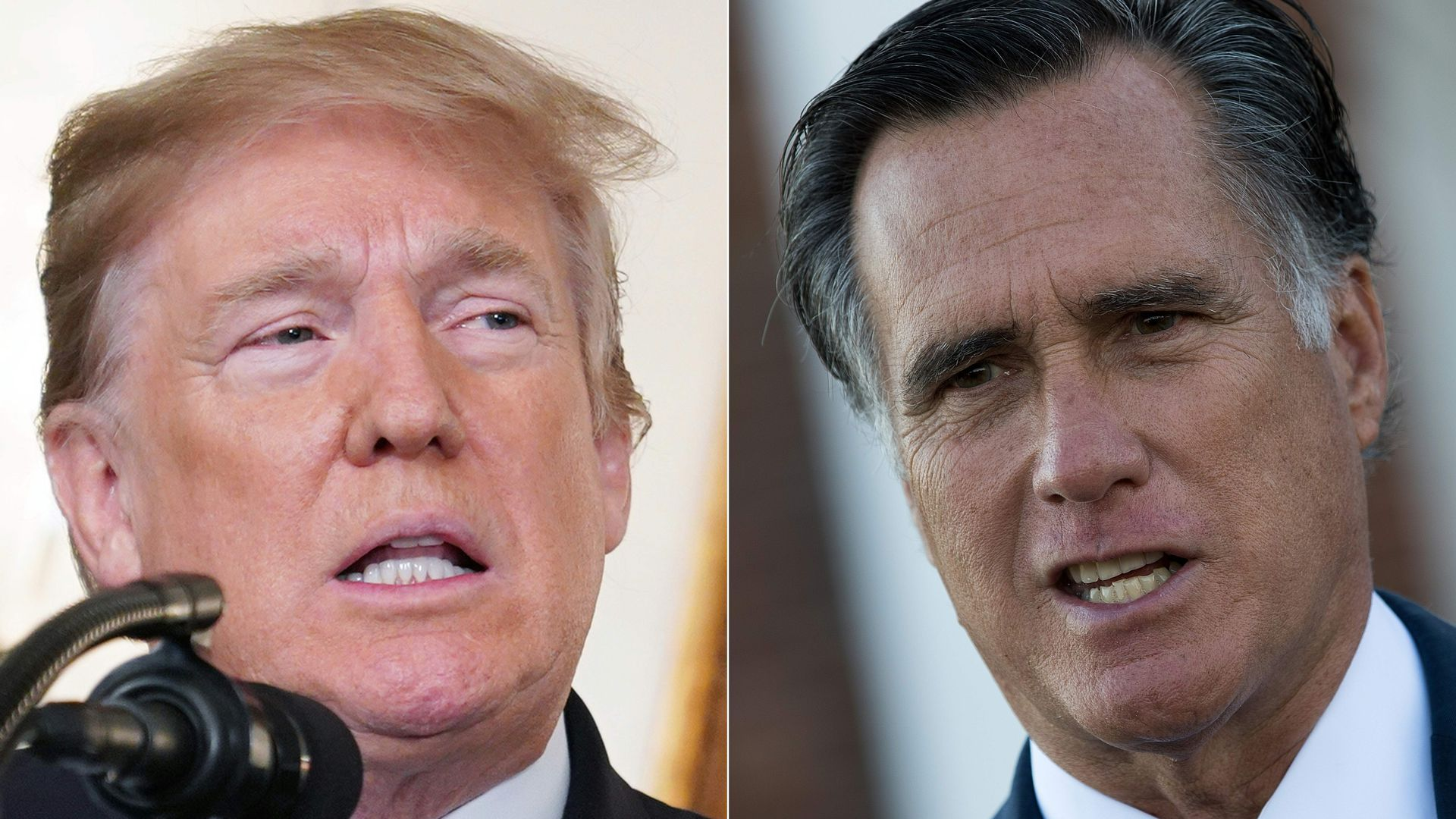 A split image of Donald Trump and Mitt Romney