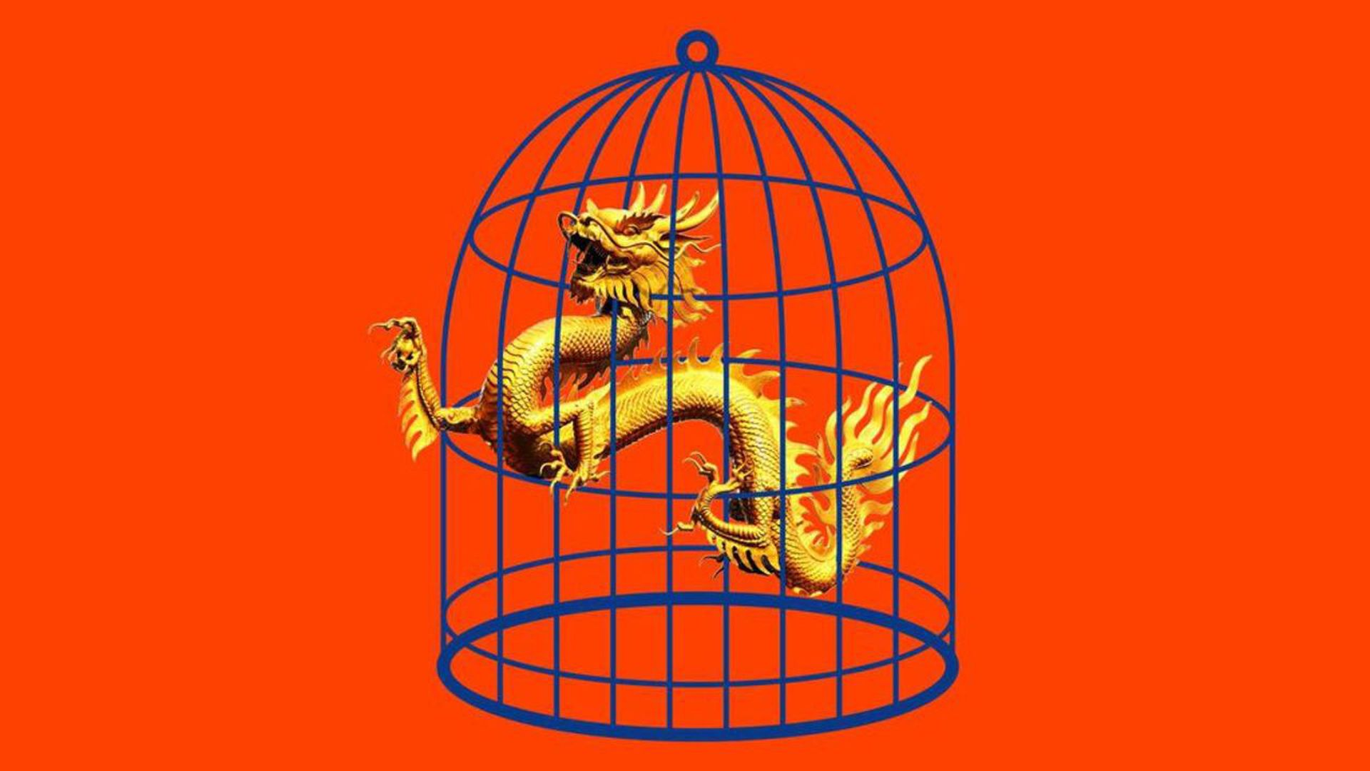 Illustration of a chinese dragon in a bird cage