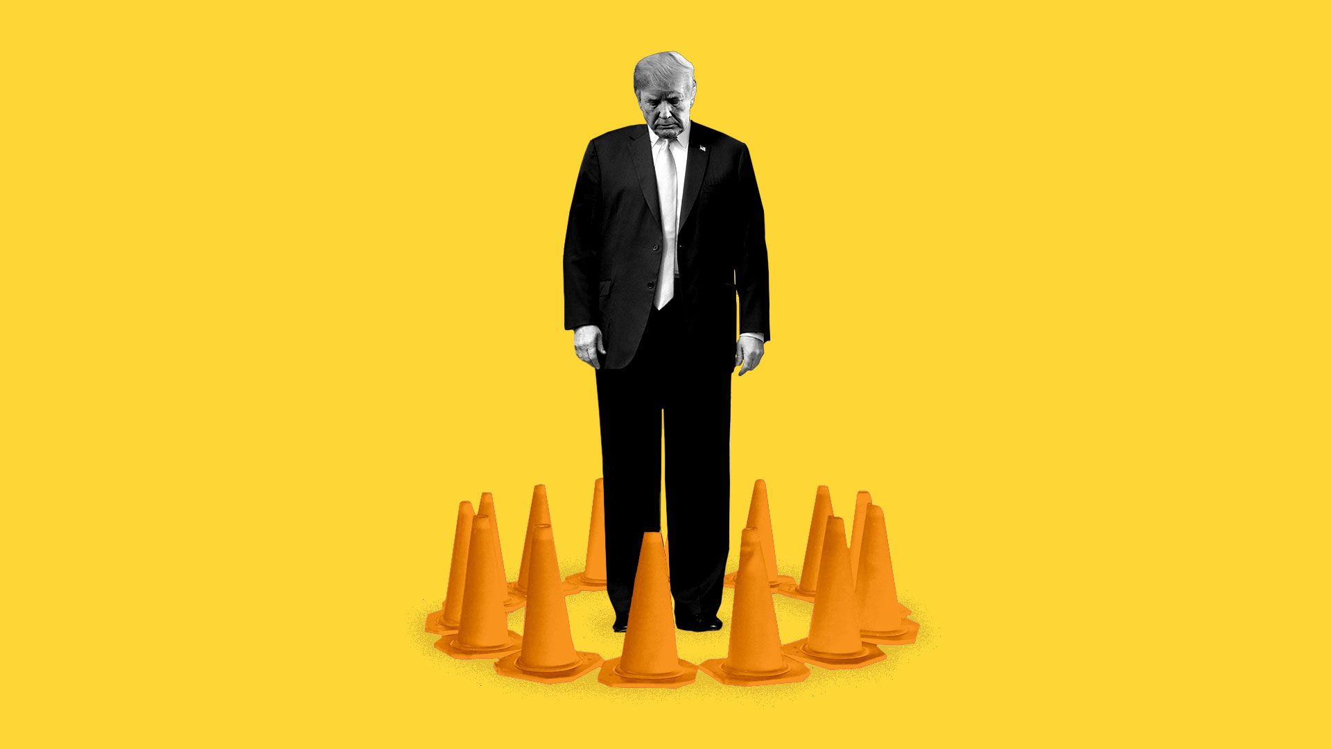 Illustration of President Trump surrounded by traffic cones.