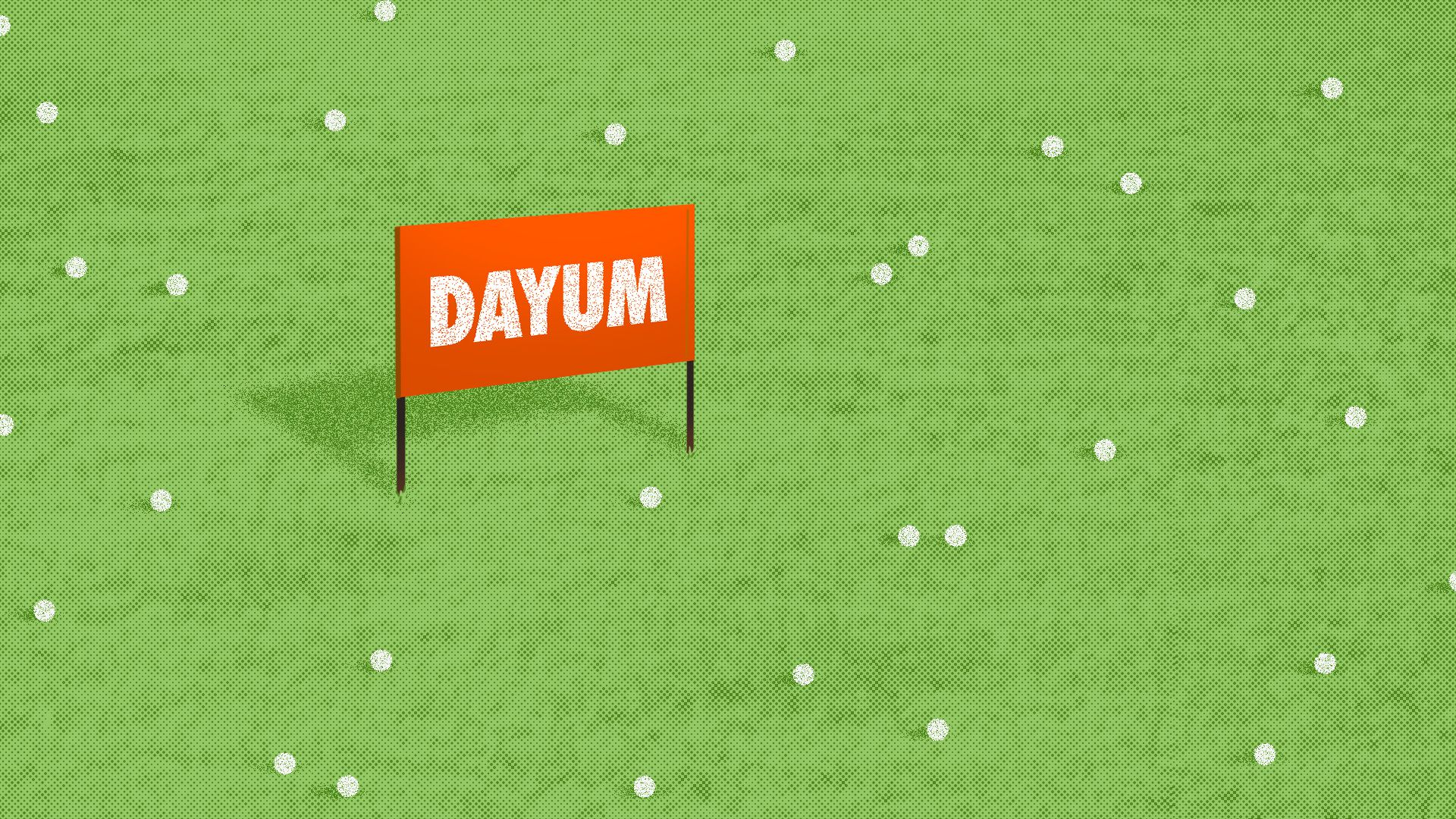 A golf driving range sign reading 'Dayum'