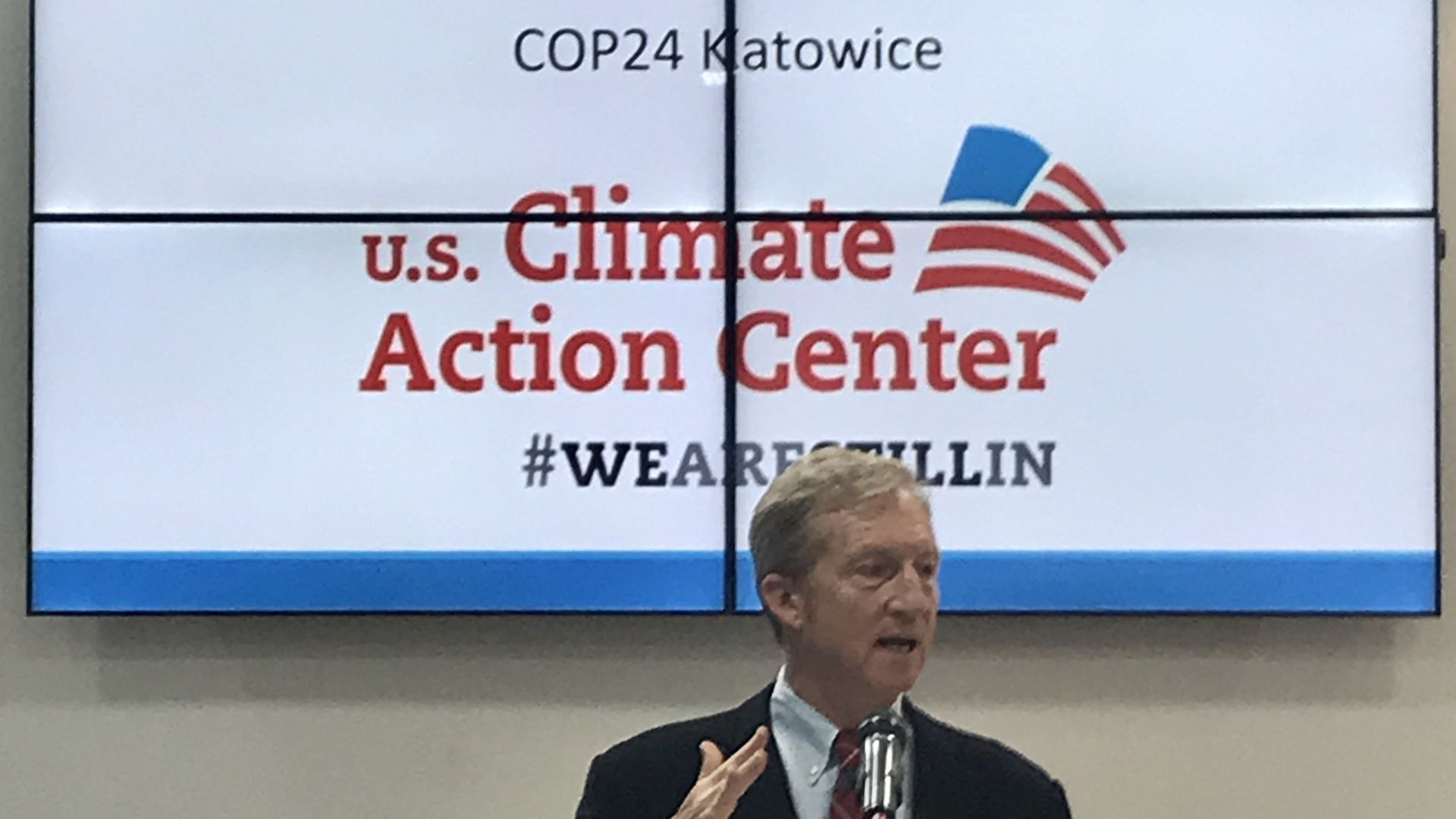 Liberal activist Tom Steyer at climate-change conference in Poland.
