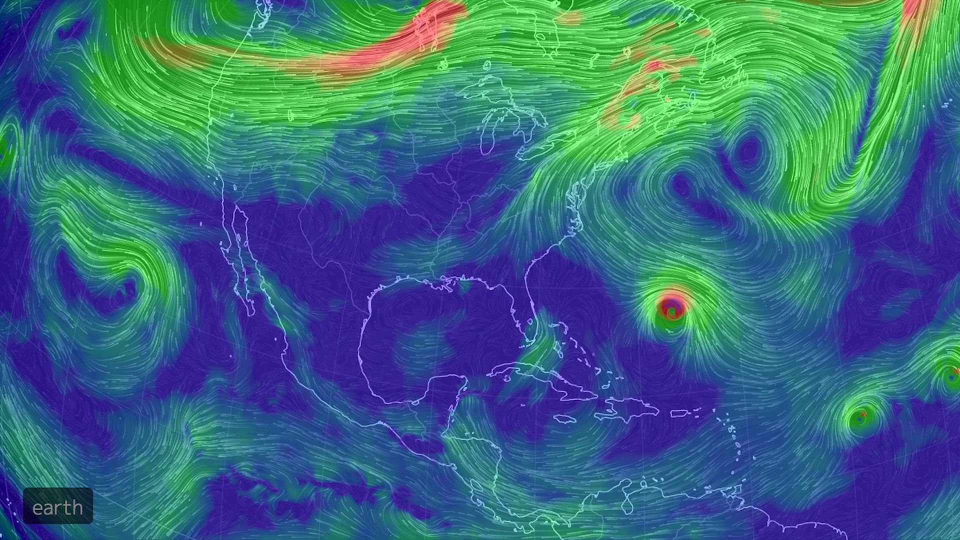 Computer projection of air circulation at about 15,000 feet on Sept. 11, 2018.