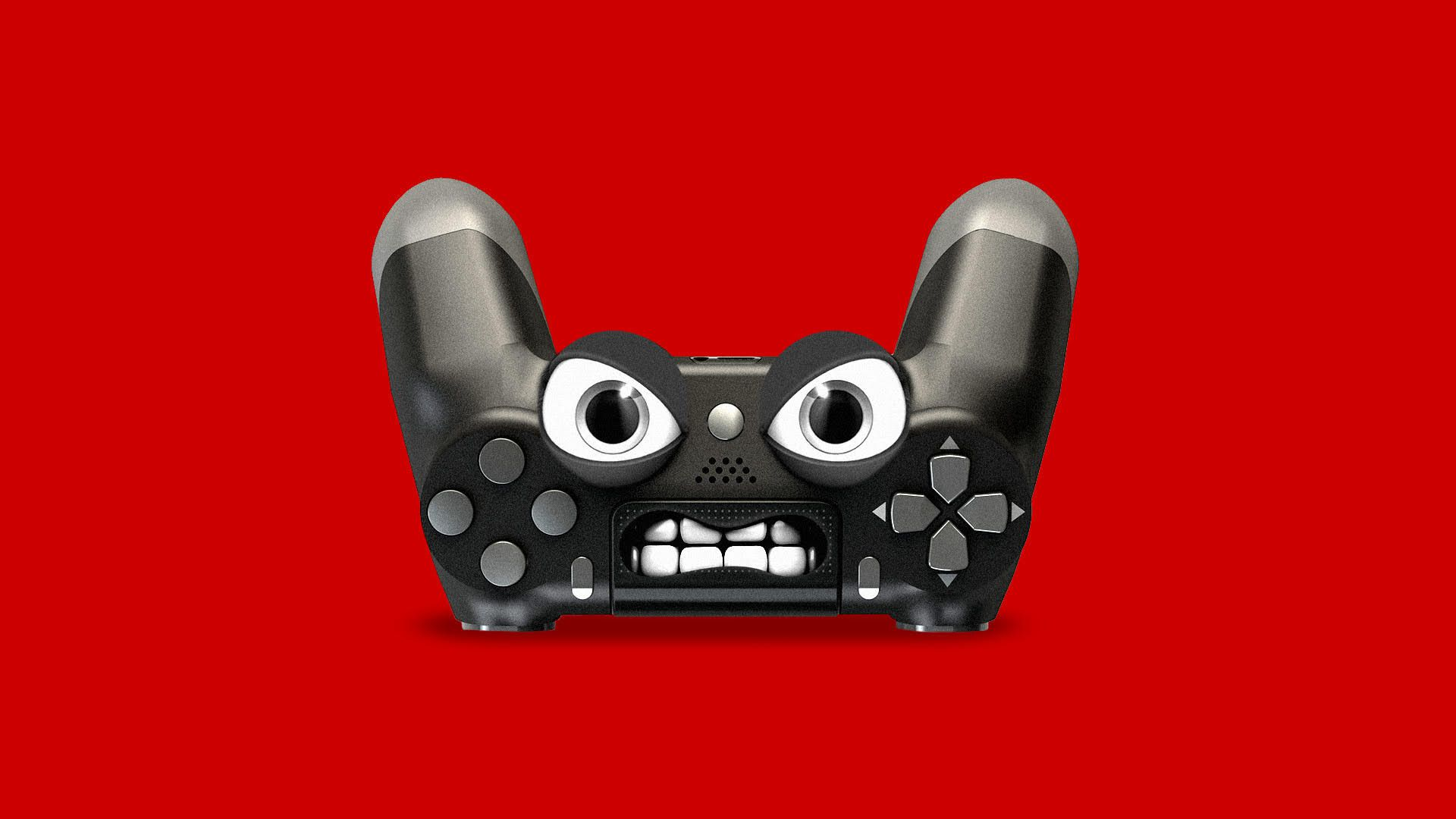 A video game controller with an angry face