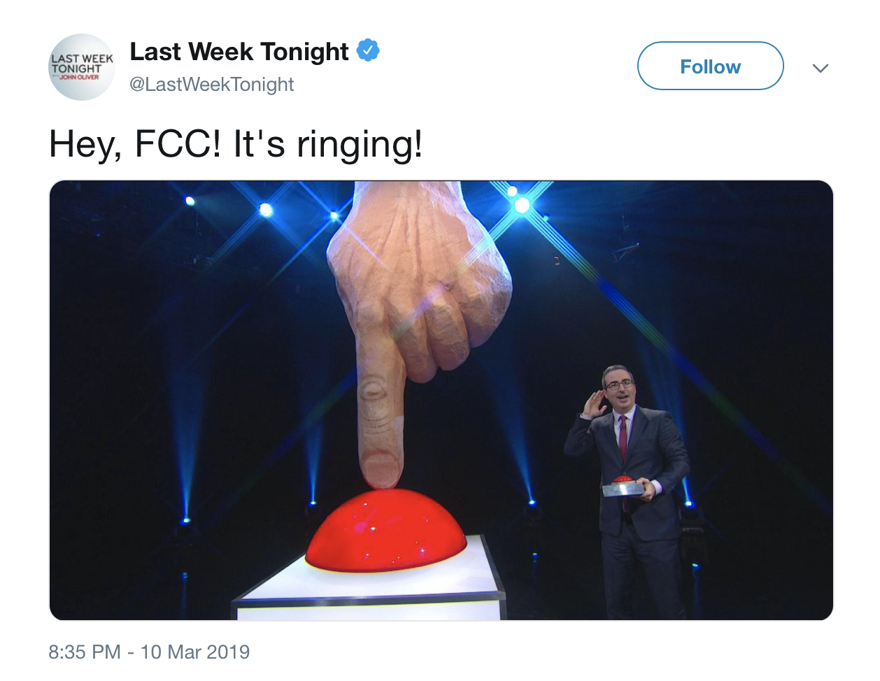 A tweet from Last Week Tonight highlighting its plan to robocall the FCC to protest robocalls