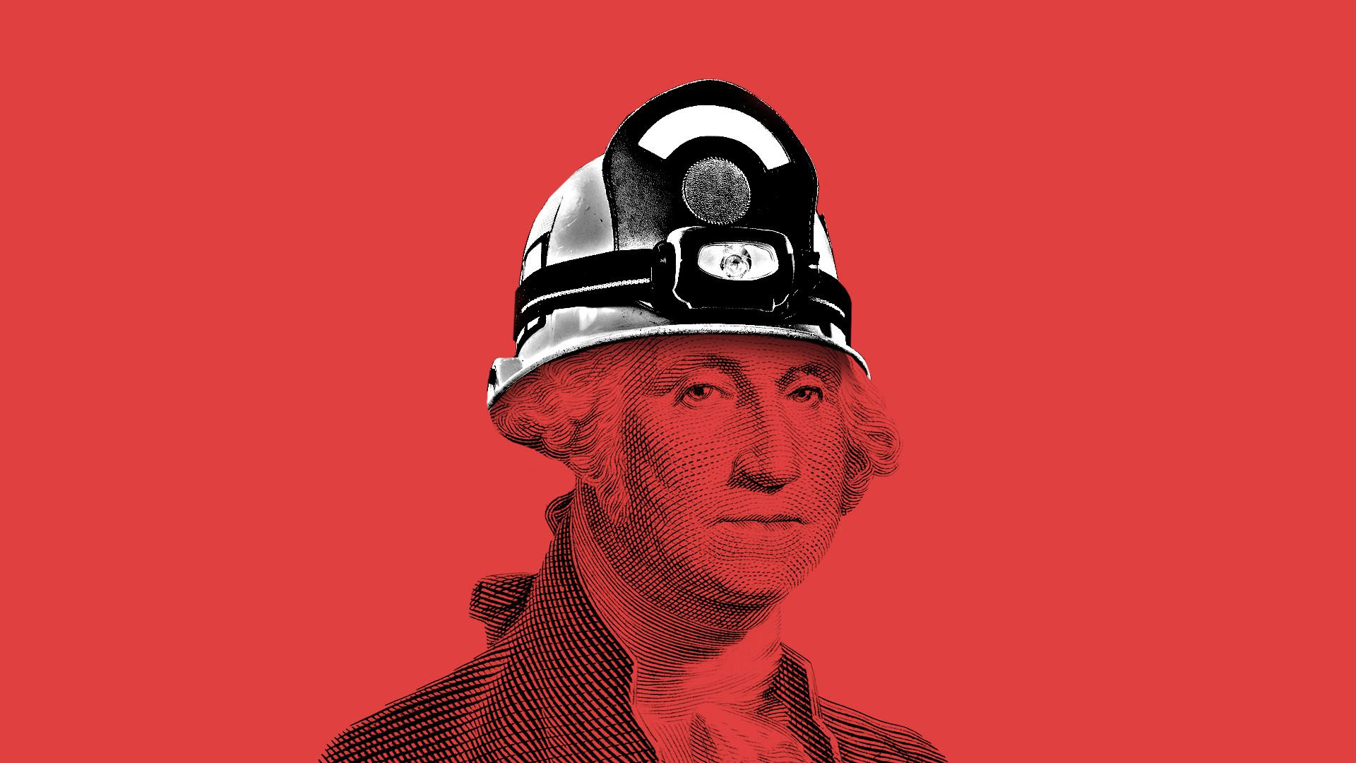 Illustration of George Washington wearing firefighter's helmet
