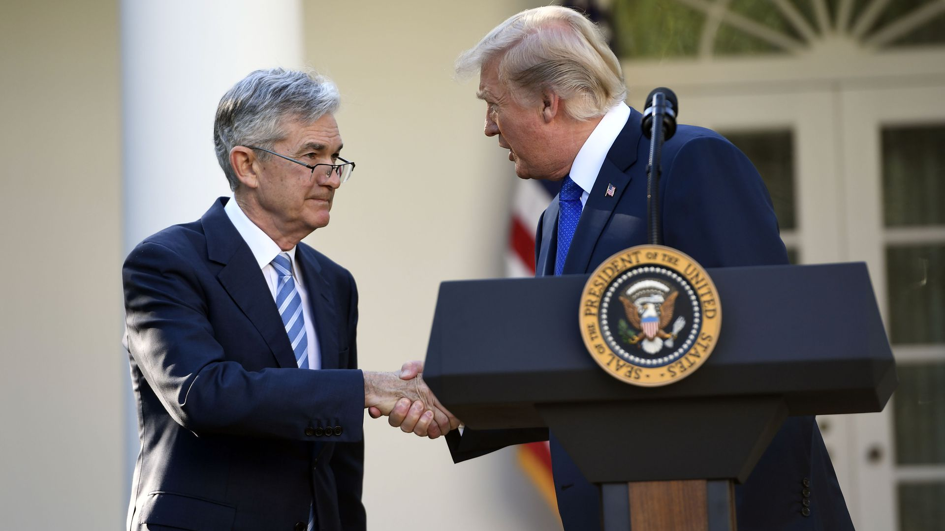 US President Donald Trump shakes hands as he announces his nominee for Chairman of the Federal Reserve, Jerome Powell, in the Rose Garden of the White House in Washington, DC,