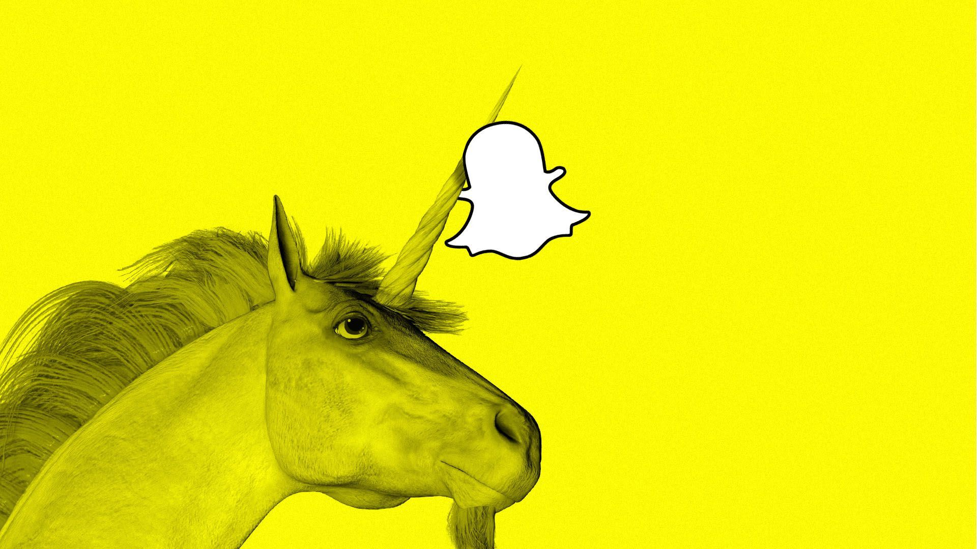 A unicorn carries the Snapchat symbol by its horns