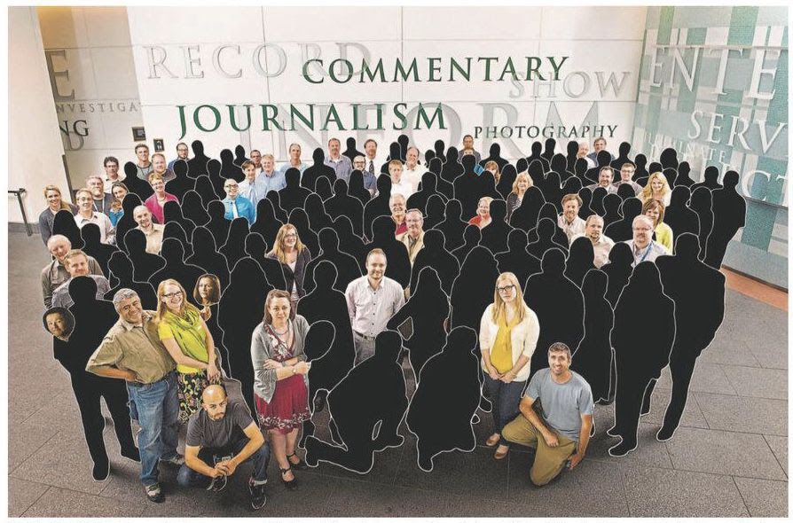 A staff photo from the Denver Post with laid off employees colored over in black