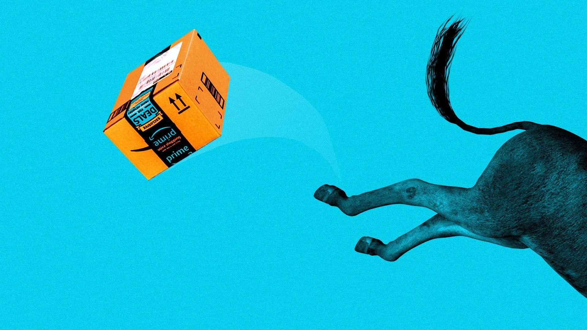 An illustration of a donkey kicking an Amazon box