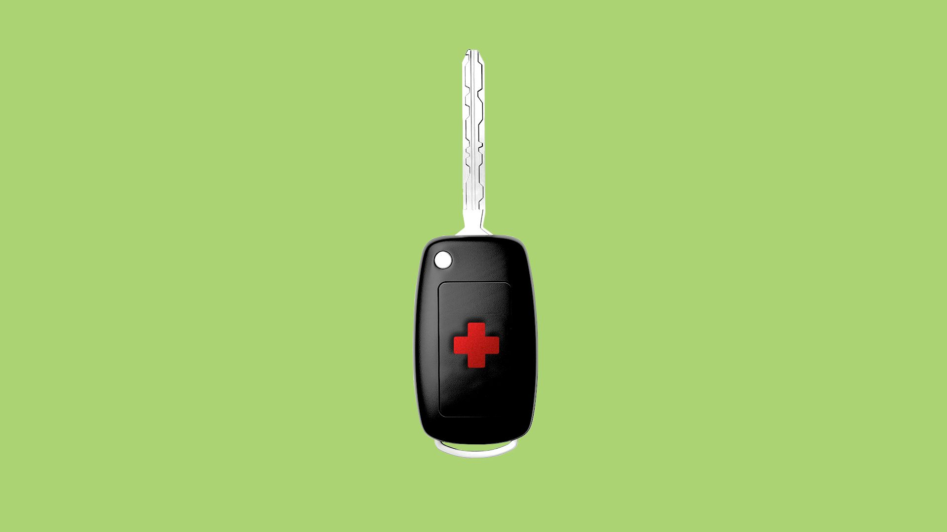 Illustration of a car key with a health plus on the unlock button.