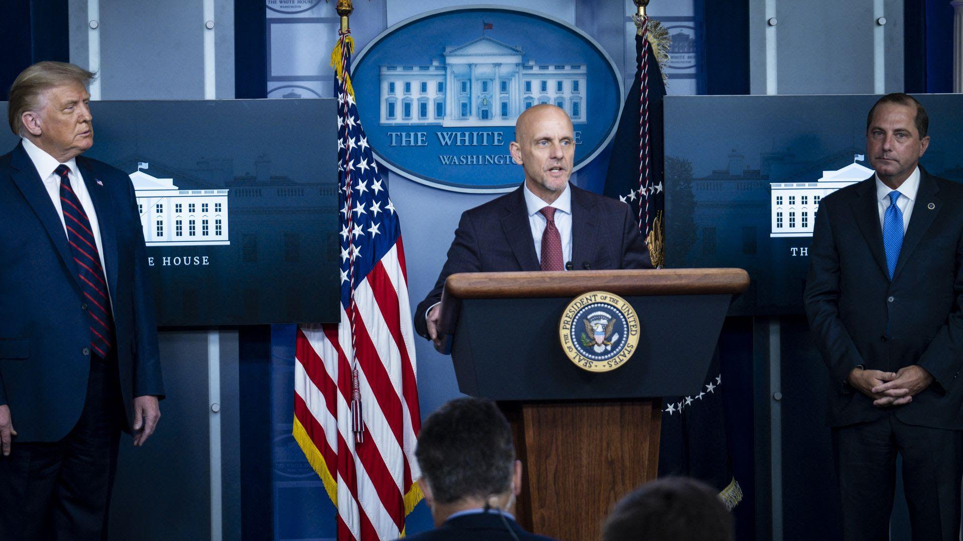 President Trump, FDA commissioner Stephen Hahn and HHS Secretary Alex Azar. Photo: Pete Marovich/Getty Images