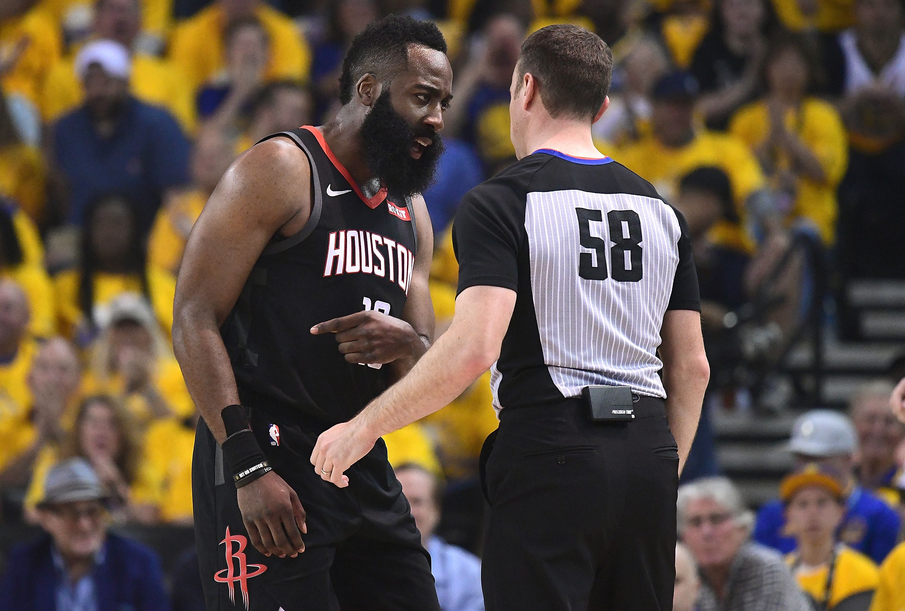 James Harden talking to a ref