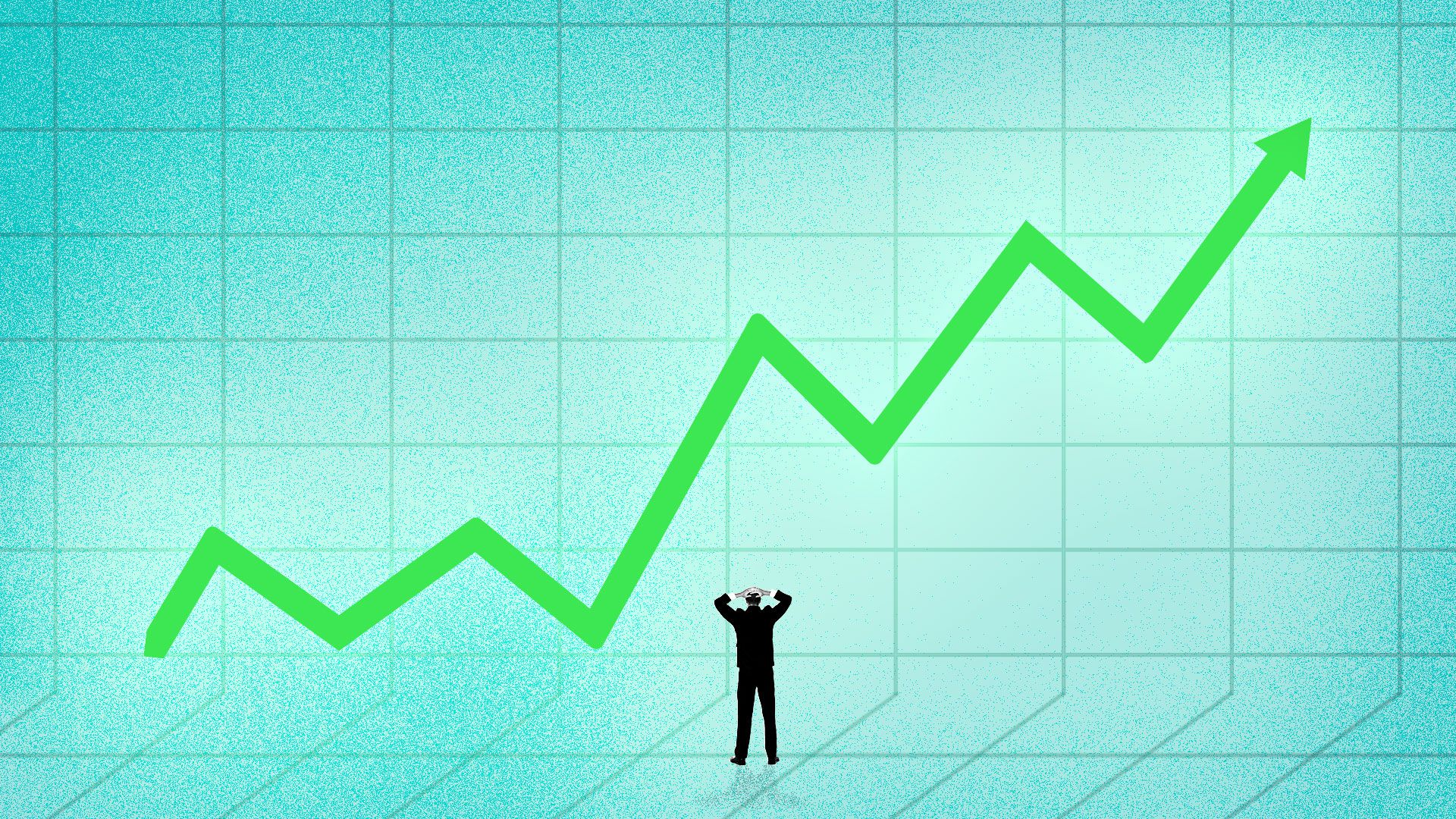 Illustration of a man looking exasperated at a glowing upward trend line.