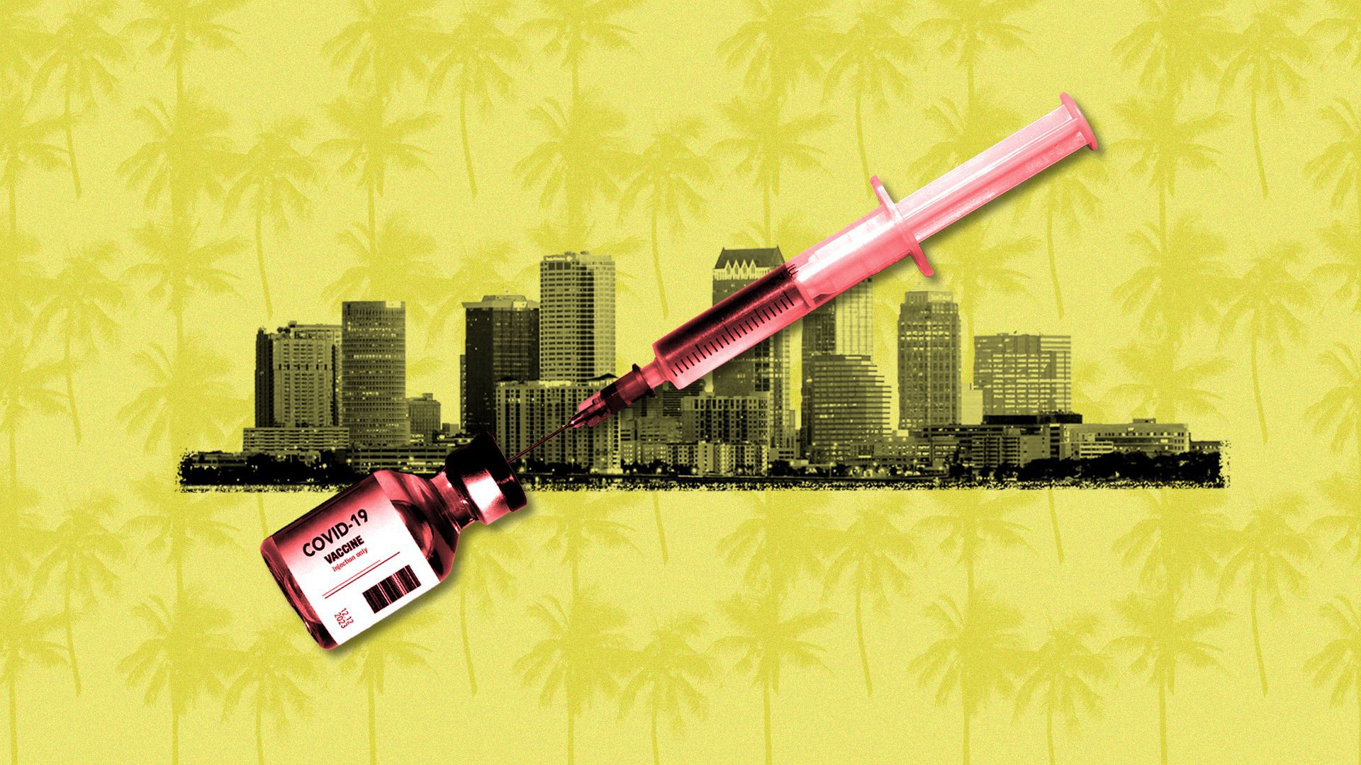 Illustration of the coronavirus vaccine and the Tampa skyline, over a pattern of palm trees.