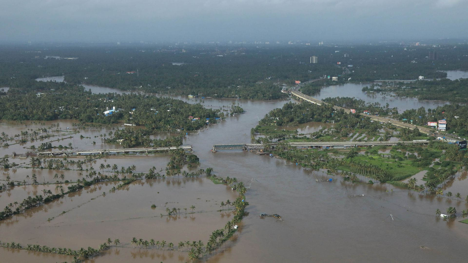 Aerial view of flooded area in the north part of Kochi, in the Indian state of Kerala on Saturday. Photo: AFP/Getty Images