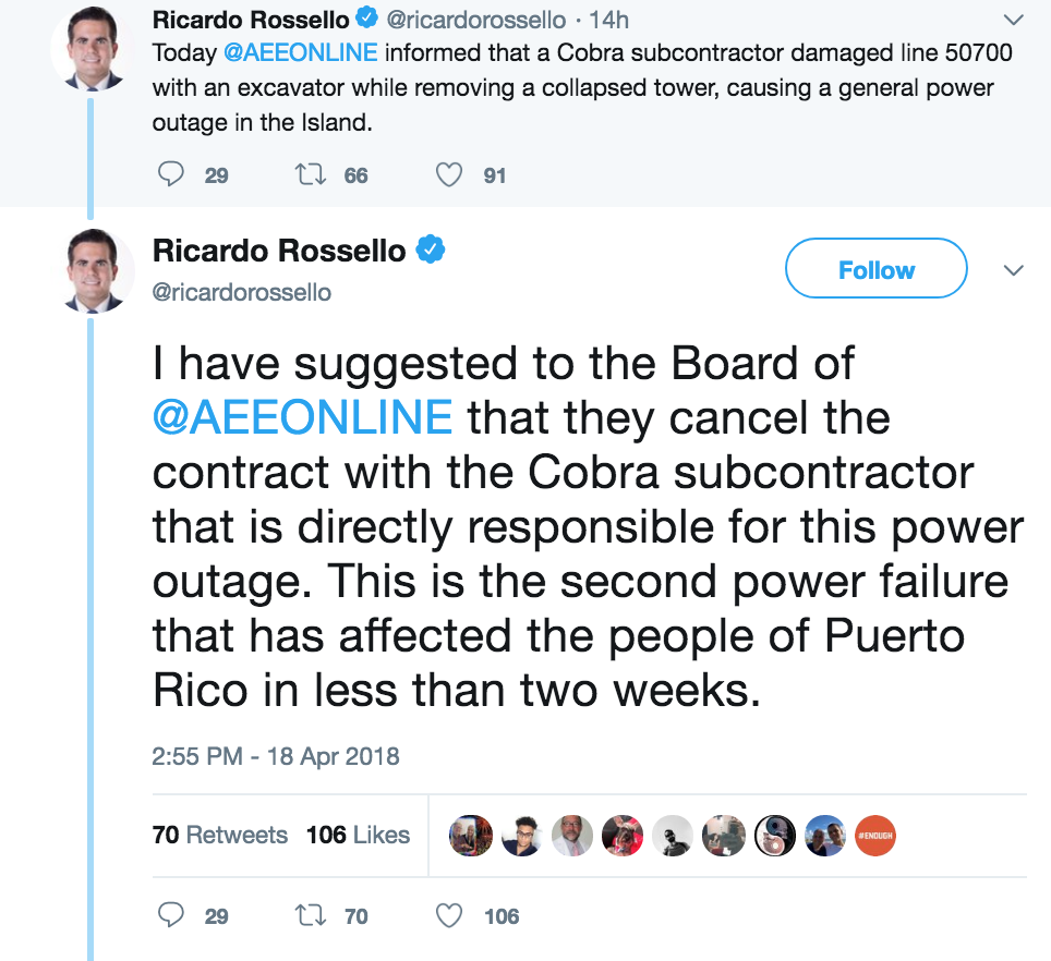 Screenshot of Gov. Ricardo Rossello's Twitter feed
