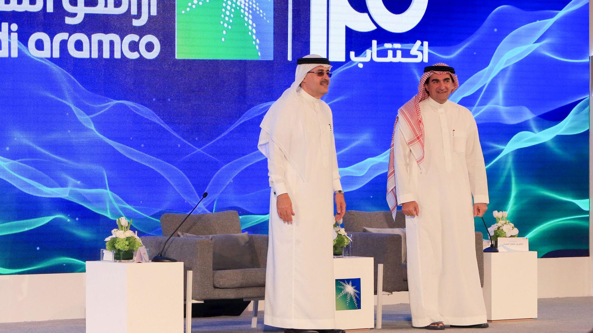 President and CEO of Saudi Aramco Amin Nasser (left), and Aramco's chairman Yasir al-Rumayyan (right).