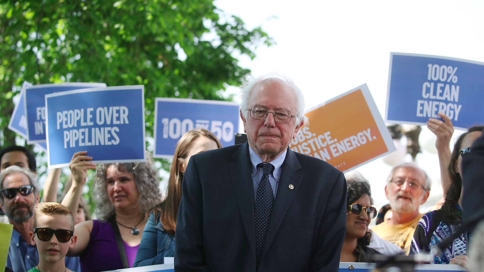 Photo of Bernie Sanders with supporters in background