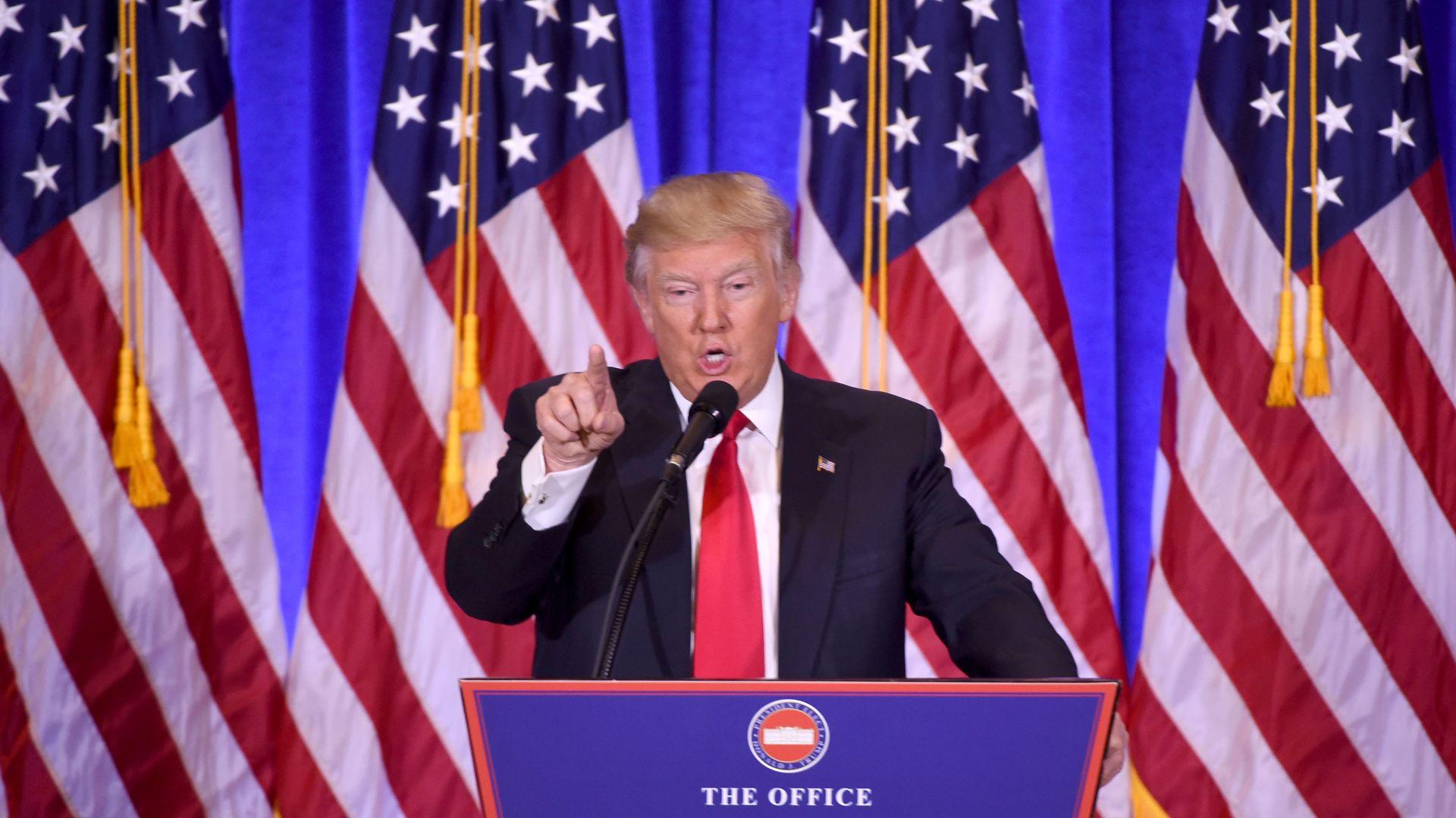 Trump addressing a CNN reporter
