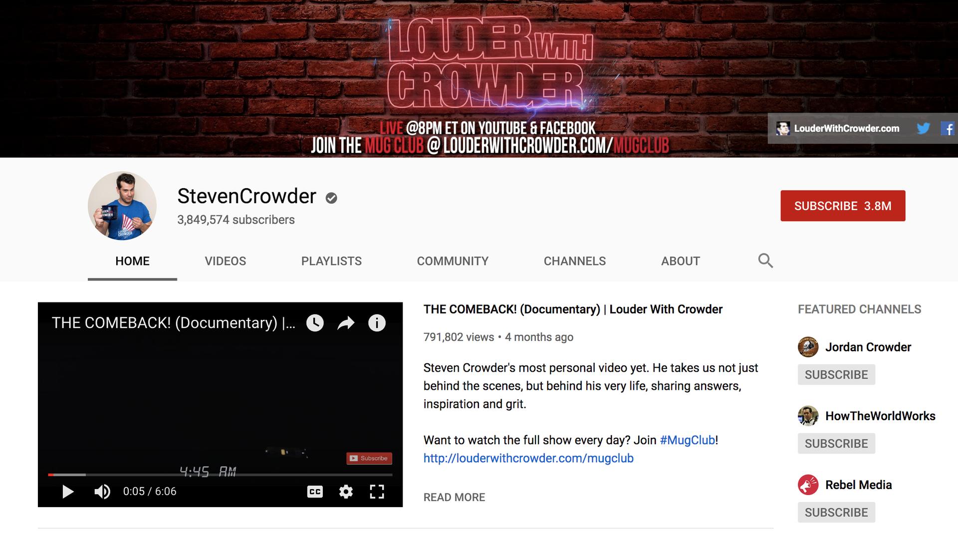 Steven Crowder's YouTube channel
