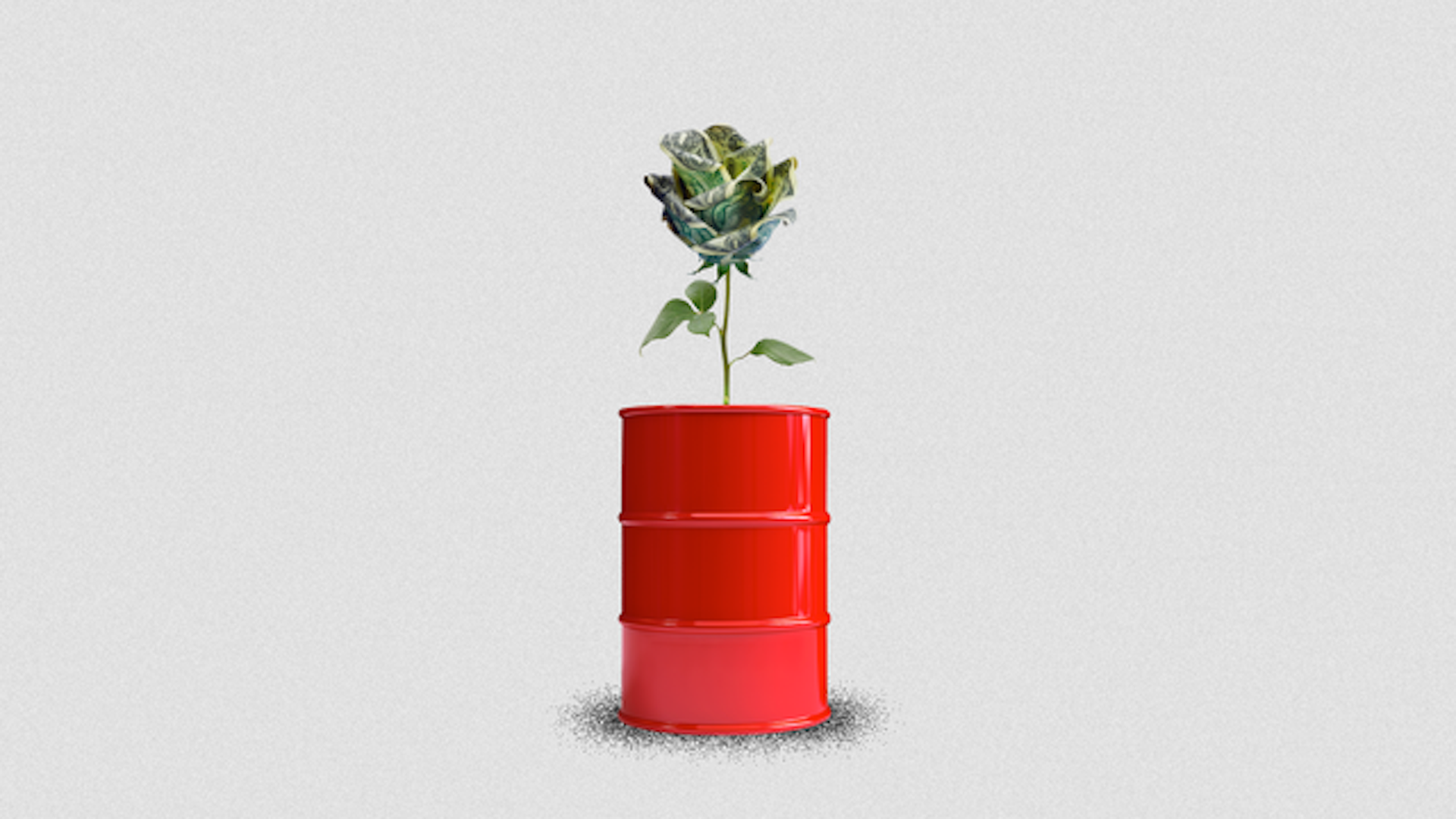 Illustration of a money plant sprouting out an oil container