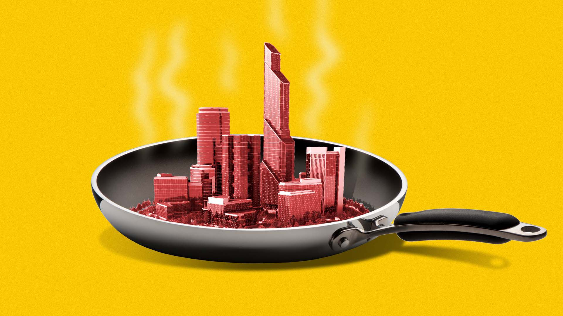 Illustration of a small city heating up in a skillet