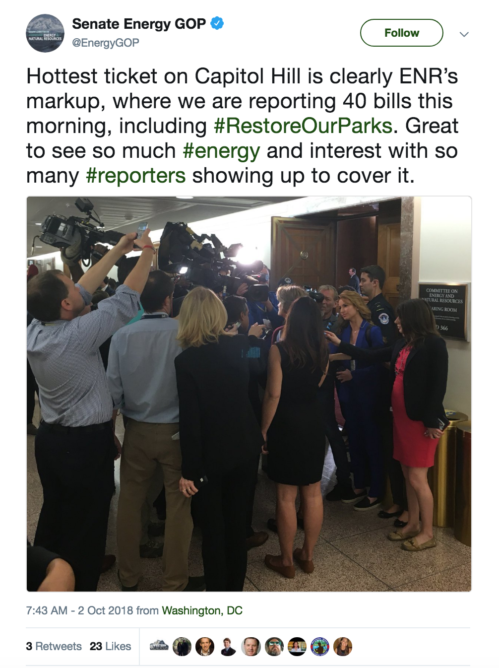 Screenshot of Senate GOP Energy tweet about Sen. Murkowski