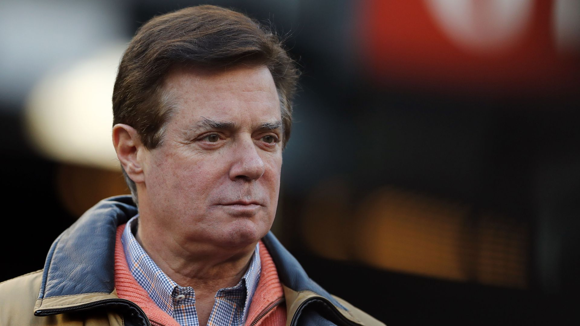 A closeup of Paul Manafort wearing casual clothes