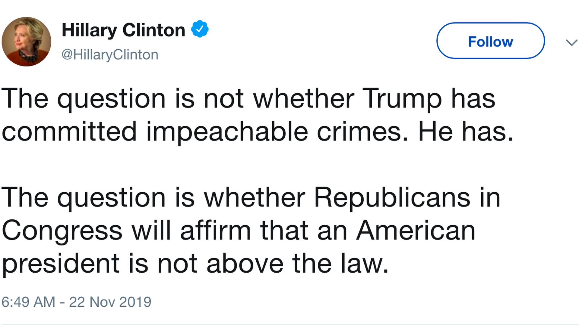 """Hillary Clinton asks if Republicans will place Trump """"above the law"""""""