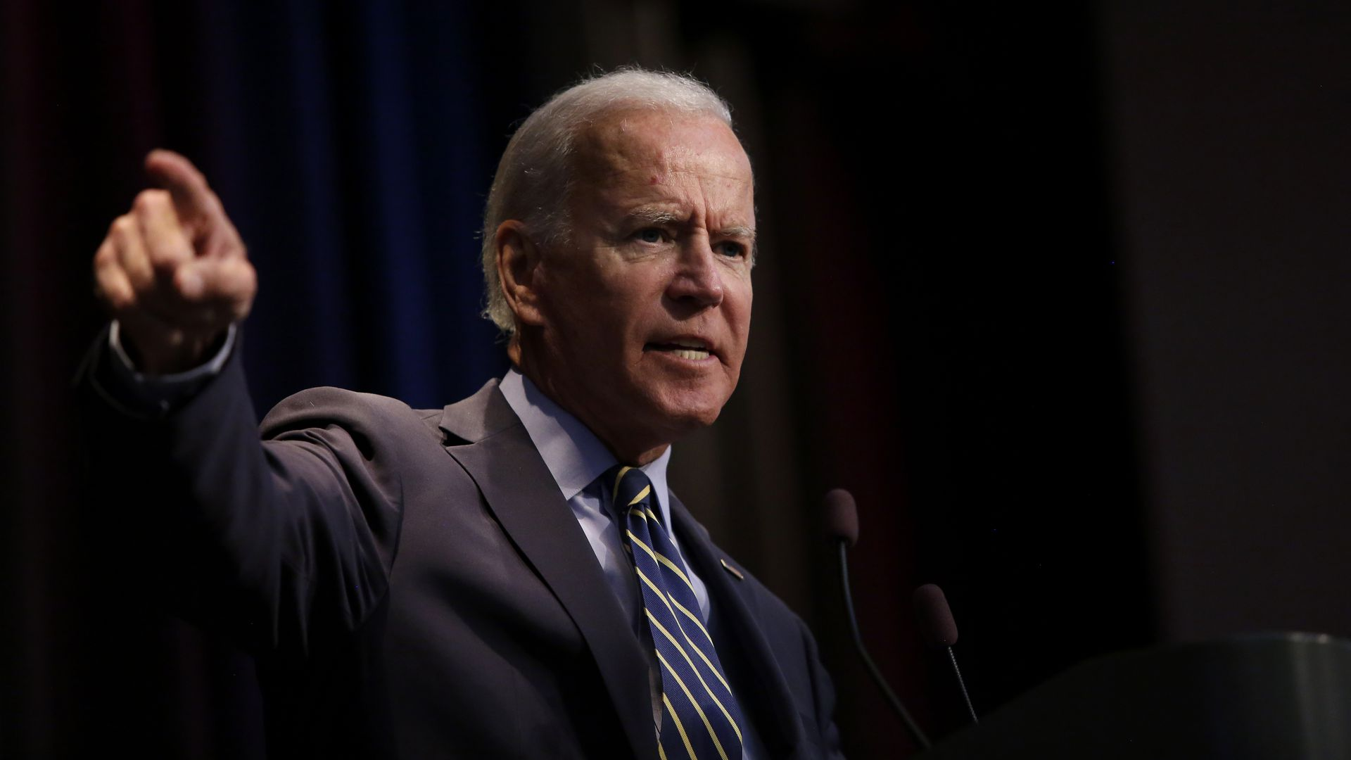 Democratic presidential candidate, former Vice President Joe Biden speaks at the Iowa Federation Labor Convention on August 21