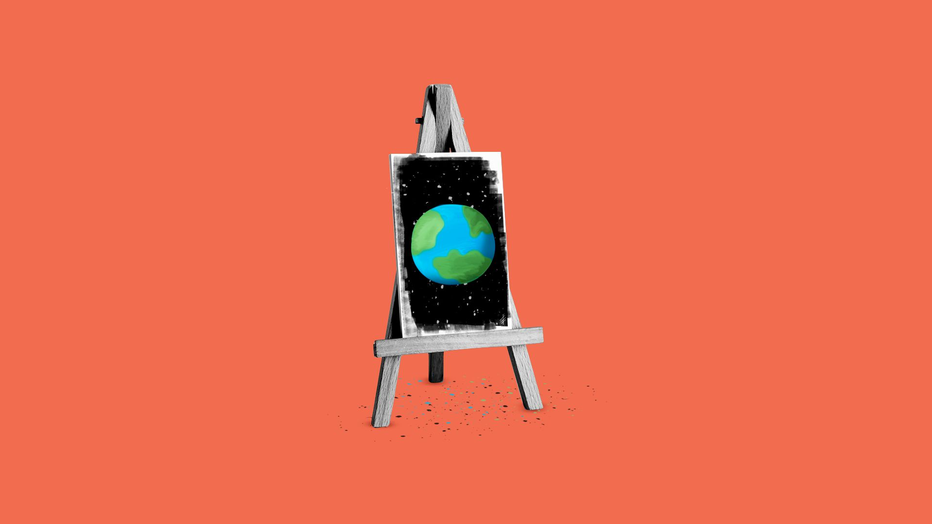 Illustration of a painter's easel showing a painting of an Earth-like planet.