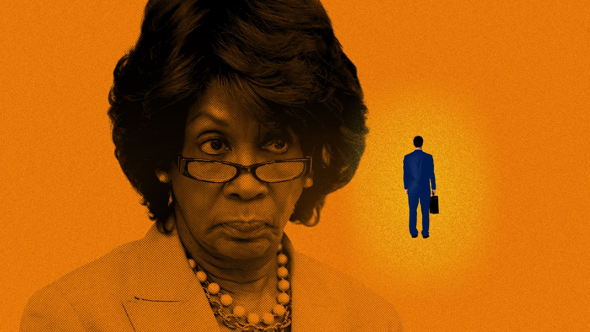 Illustration of Maxine Waters looking at a banker