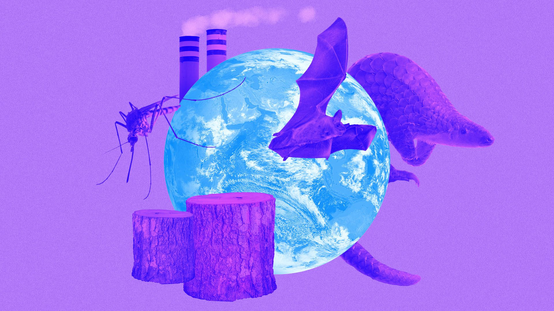 Illustrated collage of the earth surrounded by smoke stacks, a bat, a mosquito, a pangolin, and tree stumps