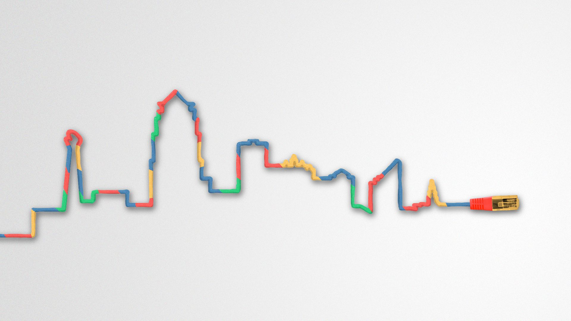 Illustration of an internet cable tracing the shape of the Des Moines skyline.