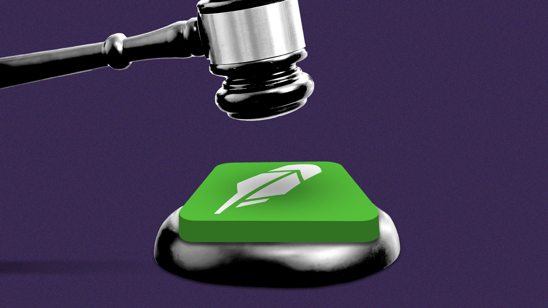Illustration of a gavel falling on the Robinhood app icon.