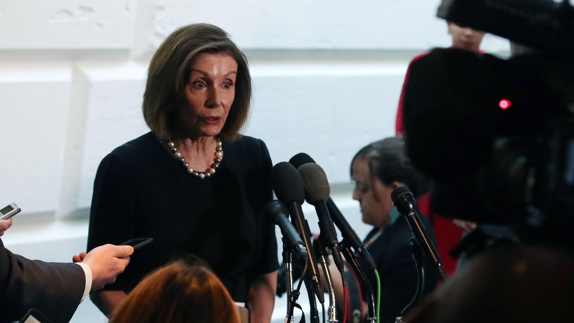 Speaker of the House Nancy Pelosi speaking with press
