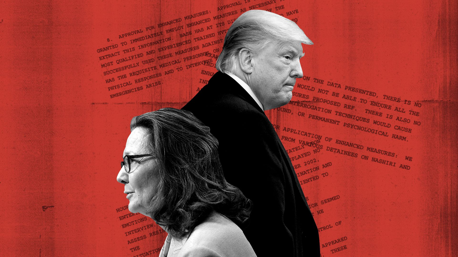 Photo illustration collage of Gina Haspel, President Donald Trump, and excerpts from Gina Haspel's declassified torture cables.