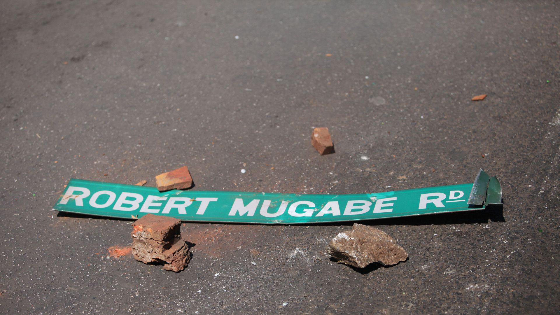 A street sign with Robert Mugabe's name on it