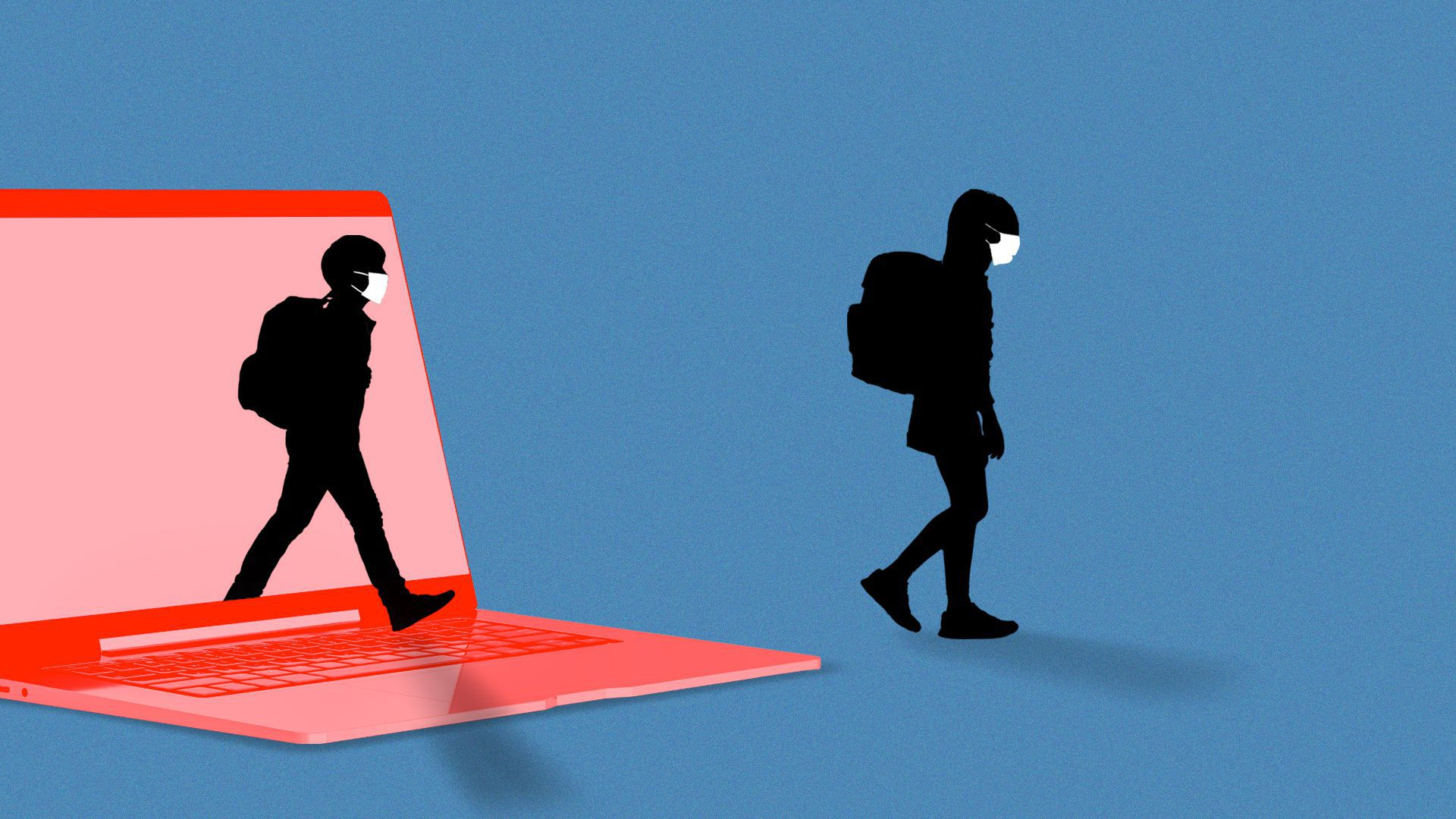 Illustration of two masked students walking out of a laptop.