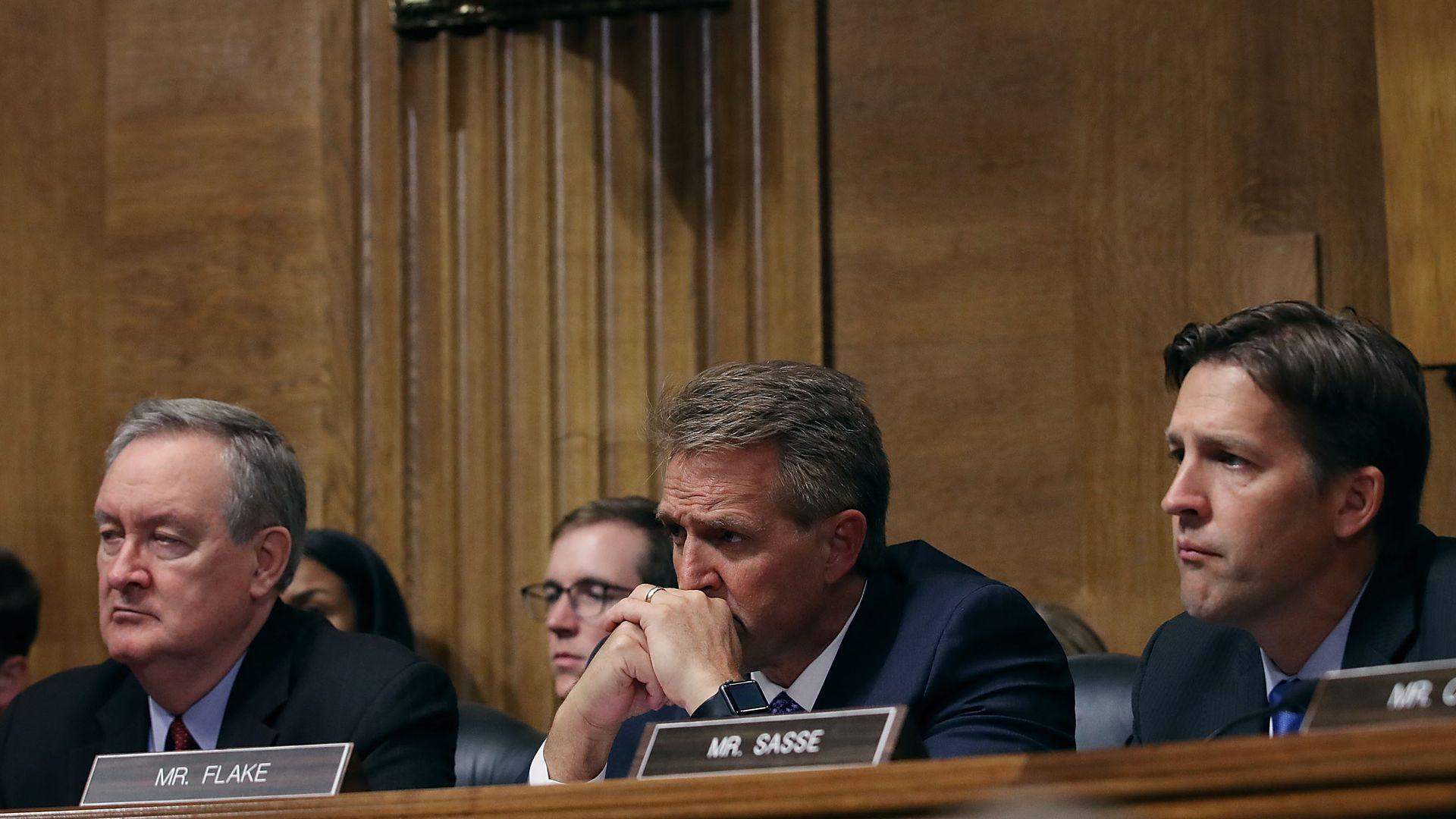 Senate Judiciary Committee members (L-R) Sen. Mike Crapo (R-ID), Sen. Jeff Flake (R-AZ) (L) and Sen. Ben Sasse (R-NE)