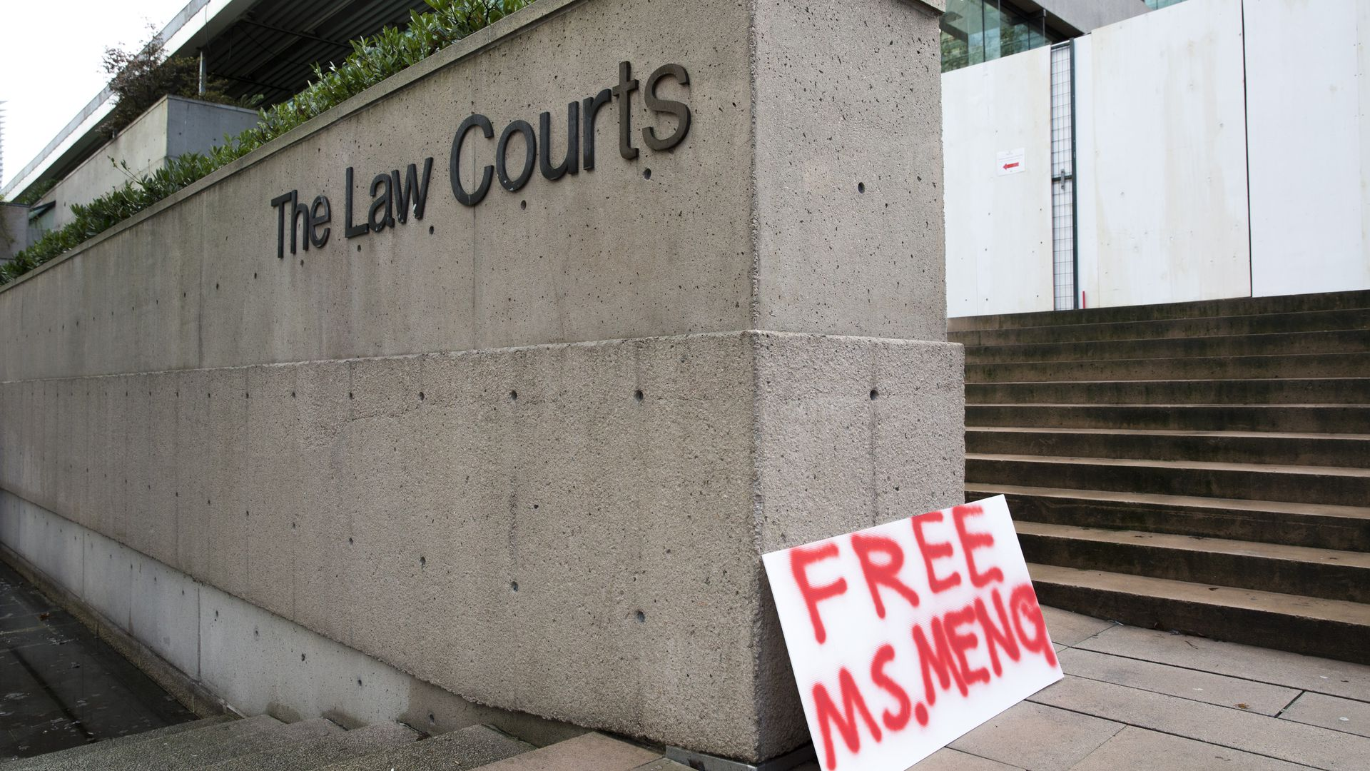 A sign calling for the release of Huawei Technologies Chief Financial Officer Meng Wanzhou is seen outside at British Columbia Superior Courts following her December 1 arrest in Canada