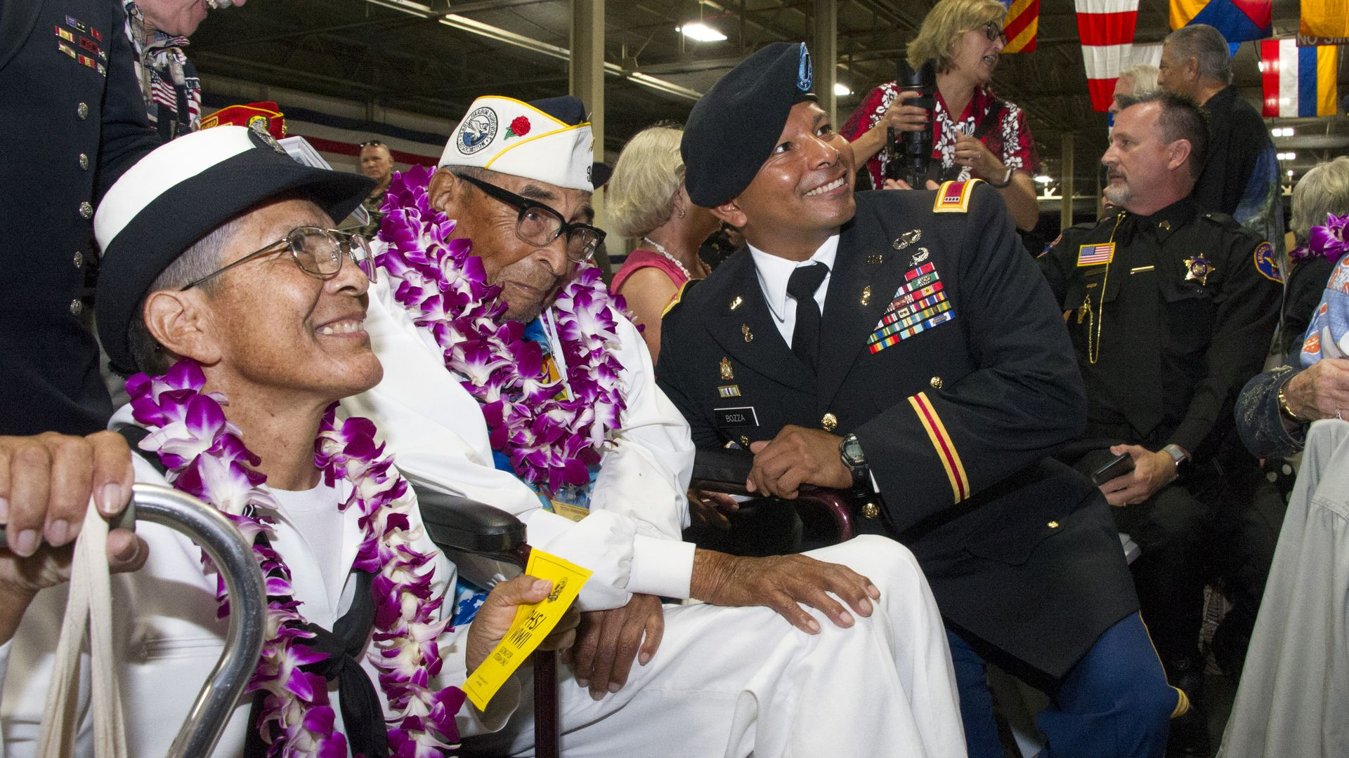 Pearl Harbor survivor Ray Chavez during a ceremony commemorating the 75th anniversary of the attack on Pearl Harbor on December 07, 2016 in Honolulu, Hawaii.