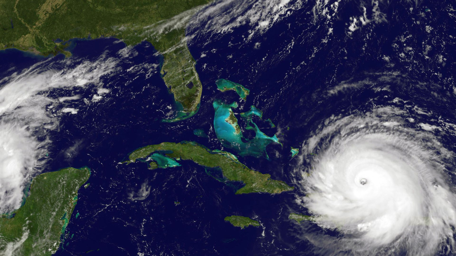 Satellite view of Hurricane Irma approaching Florida in September 2017.